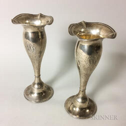 Pair of Frank M. Whiting Sterling Silver Weighted Trumpet Vases