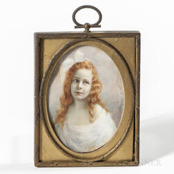 European/American School, 19th Century      Miniature Portrait of a Girl with Red Hair