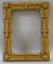 Gold-painted Tramp Art Notch-carved Wooden Frame