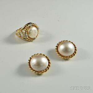 Gold and Mabe Pearl Earclips and Ring