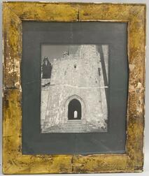 Framed Black and White Photograph of a Castle Ruins
