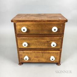 Miniature Country Maple and Poplar Three-drawer Chest