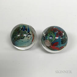 Two Josh Simpson Art Glass Planet Marbles