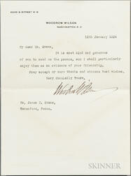 Wilson, Woodrow (1856-1924) Two Typed Letters Signed, 1921 and 1924.