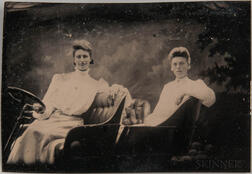 Three Tintypes, People in Cars, c. 1905.