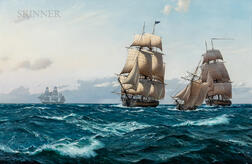 Derek George Montague Gardner (British, 1914-2007)      The First American Battle Squadron Crosses the Atlantic