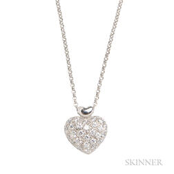 18kt White Gold and Diamond Heart Pendant Necklace