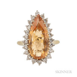 18kt Gold, Topaz, and Diamond Ring