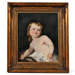 Continental School, 19th Century    Infant Christ Holding a Crown of Thorns