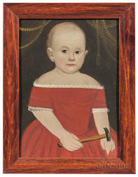 Prior/Hamblen School, Mid-19th Century      Portrait of a Child in a Red Dress Holding a Hammer