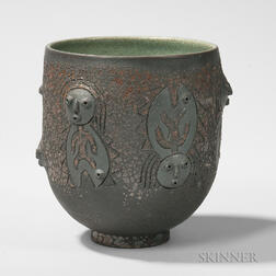Edwin and Mary Scheier Face-decorated Bowl