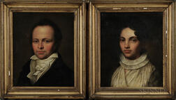 American School, Early 19th Century      Pair of Portraits of a Man and a Woman
