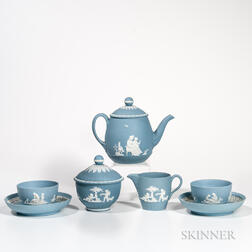 Five-piece Wedgwood Solid Pale Blue Jasper Tea Set