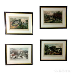 Four Framed Currier & Ives Four Seasons Lithographs