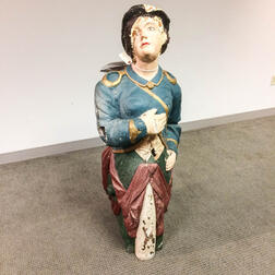 Polychrome Carved and Painted Wood Figurehead of a Woman in Blue Coat