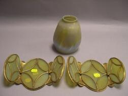 Pair of Gilt-metal Framed Art Glass Three-Panel Candle Shades and a Favrile Pulled Feather Art Glass Lamp Shade.