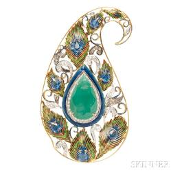 18kt Gold, Gem-set, Diamond, and Enamel Pendant