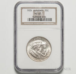 1924 Huguenot Commemorative Half Dollar, NGC MS65.     Estimate $100-200