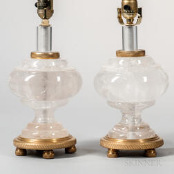 Pair of Louis XVI-style Rock Crystal Lamp Bases
