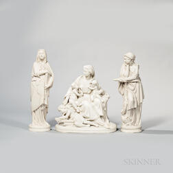 Three Wedgwood Carrara Figures Depicting Faith, Hope, and Charity