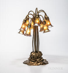 "Tiffany Studios Ten-light Bronze ""Water Lily"" Table Lamp"