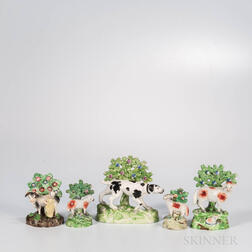 Five Staffordshire Bocage with Animals