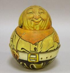 Mayos Cut Plug Lithographed Tin Roly Poly Brownie Dutchman Tobacco Container.