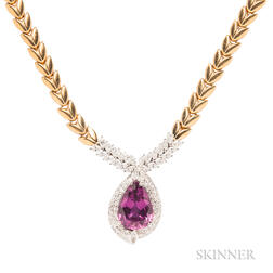 18kt Gold, Grossular Garnet, and Diamond Pendant Necklace
