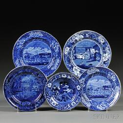 Five Historical Blue Transfer-decorated Staffordshire Pottery Plates