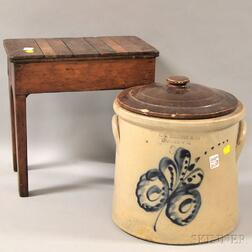 Stoneware Crock with Cobalt Leaf Decoration and a Purportedly Shaker Wooden Stool