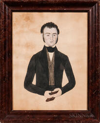 American School, Mid-19th Century      Portrait of a Young Man in a Black Jacket