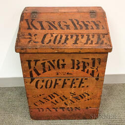 King Bee Painted and Stenciled Coffee Bin
