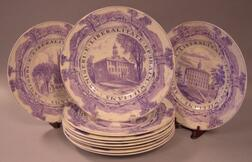Set of Ten Wedgwood Purple and White Williams College Transfer Decorated Dinner Plates.