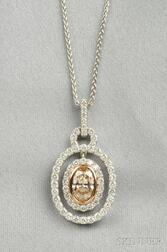 18kt White Gold, Colored Diamond, and Diamond Pendant
