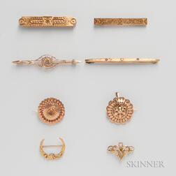 Eight Victorian and Art Deco Brooches