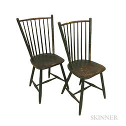 Pair of Green-painted Bamboo-turned Windsor Side Chairs
