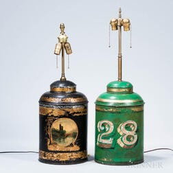 Two Chinese Tea Cannister Lamps