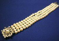 14kt White Gold, Cultured Pearl, and Diamond Bracelet