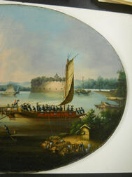 Chinese Export Painting, Dutch Folly Fort on the Pearl River, Canton