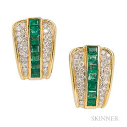 14kt Gold, Diamond, and Emerald Earrings