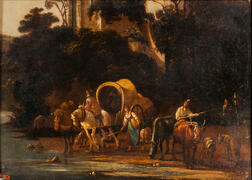 Dutch School, 17th Century      Figures, Livestock, and Covered Wagon Crossing a Stream