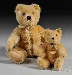 Two Blonde Mohair Jointed Steiff Bears