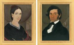 Attributed to William Matthew Prior (Massachusetts/Maine, 1806-1873), Pair of Portraits, Possibly a Portuguese Sea Captain and His Wife