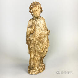 Carved Alabaster Religious Figure