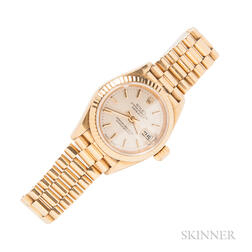 "Lady's 18kt Gold ""Oyster Perpetual Datejust"" Wristwatch, Rolex"