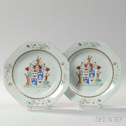 Pair of Armorial Export Porcelain Soup Plates