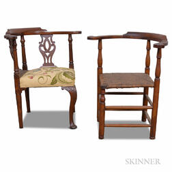 Two Maple and Mahogany Roundabout Chairs