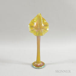 Iridescent Jack-in-the-pulpit Art Glass Vase
