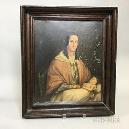 Framed Oil on Tin Portrait of a Woman and Child
