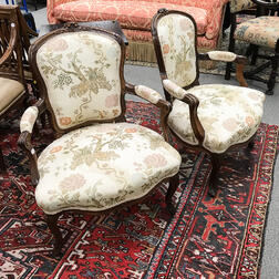 Pair of Louis XV-style Carved Walnut Fauteuil
